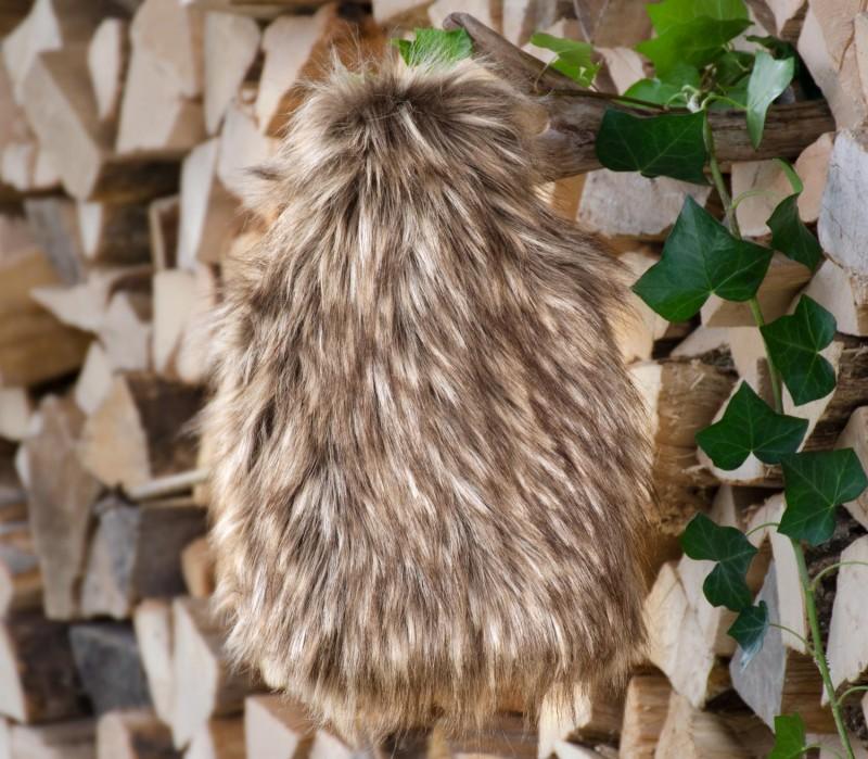 AKTION Wärmflaschenhülle aus Fell (Fellimitat) Grizzly mit Naturgummi Wärmflasche