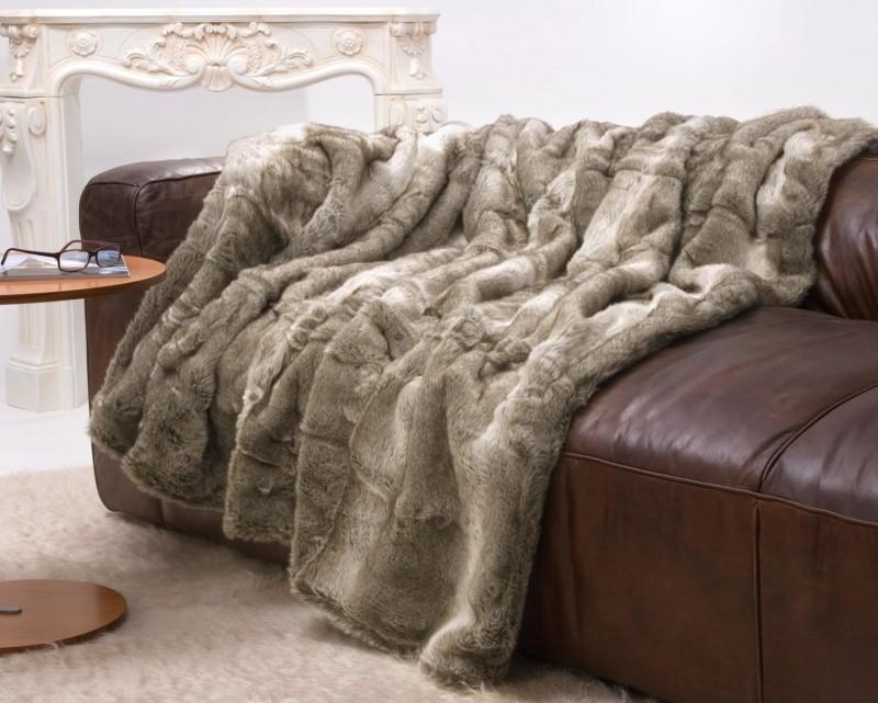 Felldecke (Fellimitatdecke) Bär grau-beige Melange 150x200cm