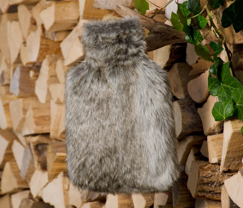 Wärmflaschenhülle aus Fell (Fellimitat) Bär mit Naturgummi Wärmflasche