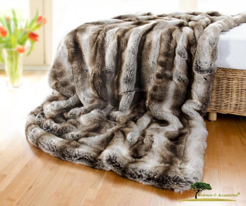 Edle, sehr große Felldecke (Webpelzdecke) Wolf grau-braun 260x300cm Premium-Qualität
