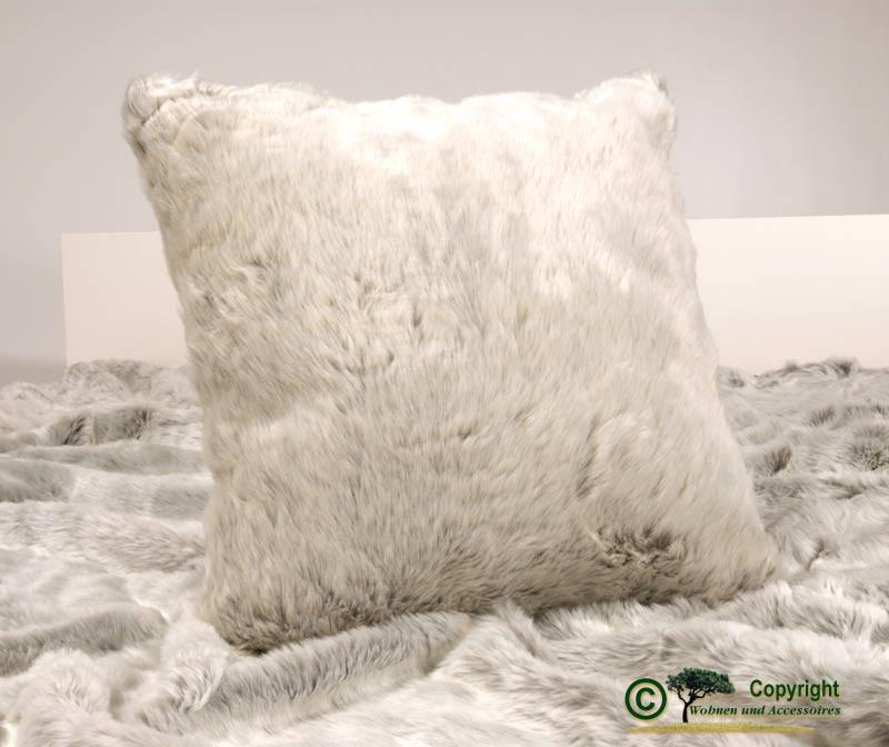 Fellkissen Silberfuchs, Pelzkissen aus Webpelz als Dekokissen oder Sofakissen 45x45