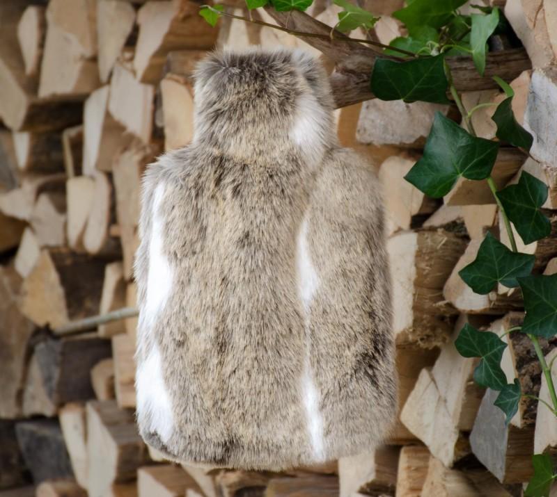 Wärmflaschenhülle aus Fell (Felimitat) Gazelle mit Naturgummi Wärmflasche