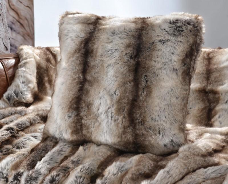 Fellkissen (Fellimitatkissen) Wolf grau-braun 45x45cm - Premium superfein