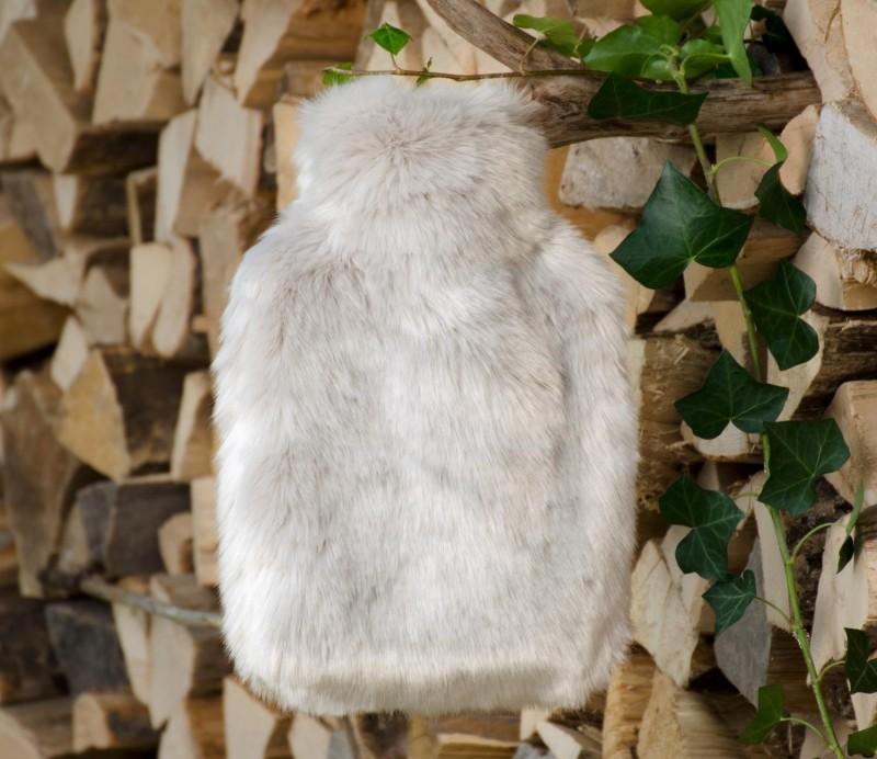 Wärmflaschenhülle aus Fell (Fellimitat) Zobel silber-grau mit Naturgummi Wärmflasche - Premium superfein