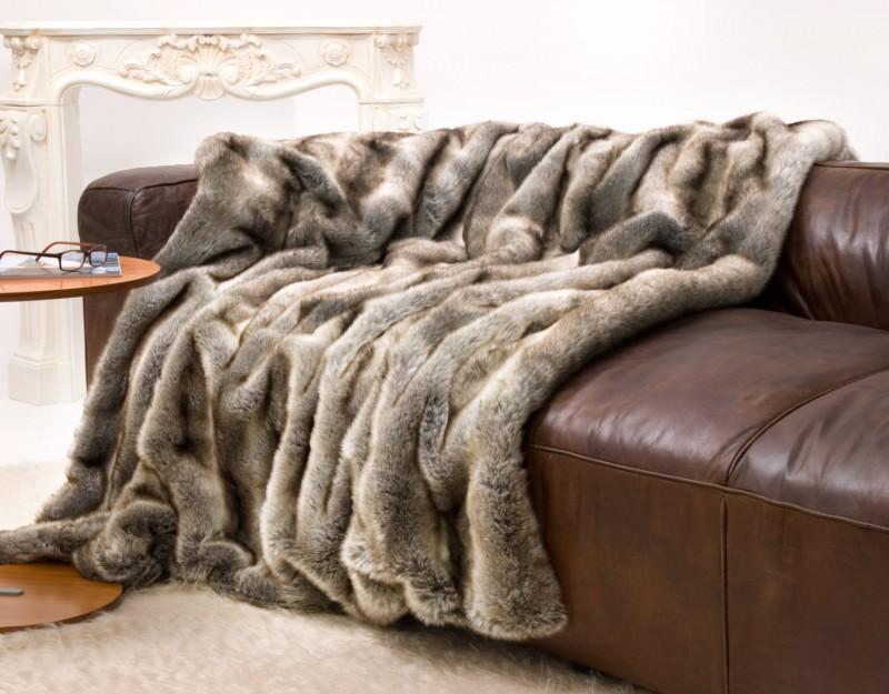 Felldecke (Fellimitat) Wolf grau-braun - 5 Größen - 150x200 bis 260x300cm