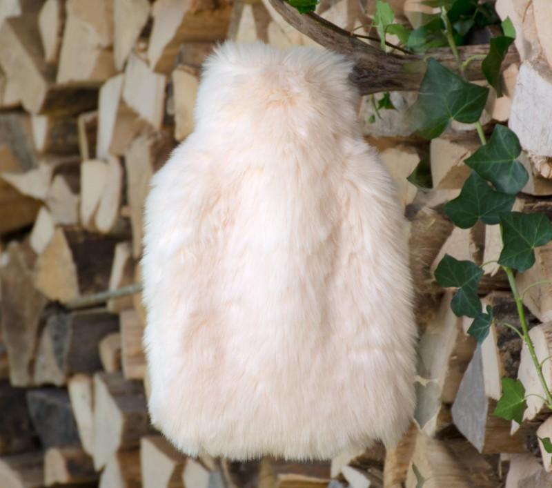 Wärmflaschenhülle aus Fell (Fellimitat) Kaninchen mit Naturgummi Wärmflasche - Premium superfein