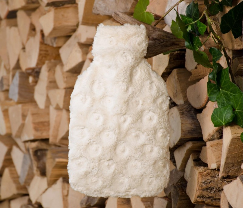Wärmflaschenhülle aus Fell (Fellimitat) Teddy creme-weiß mit Naturgummi Wärmflasche