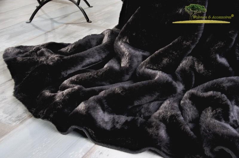 Felldecke Puma schwarz 150x200cm aus Webpelz