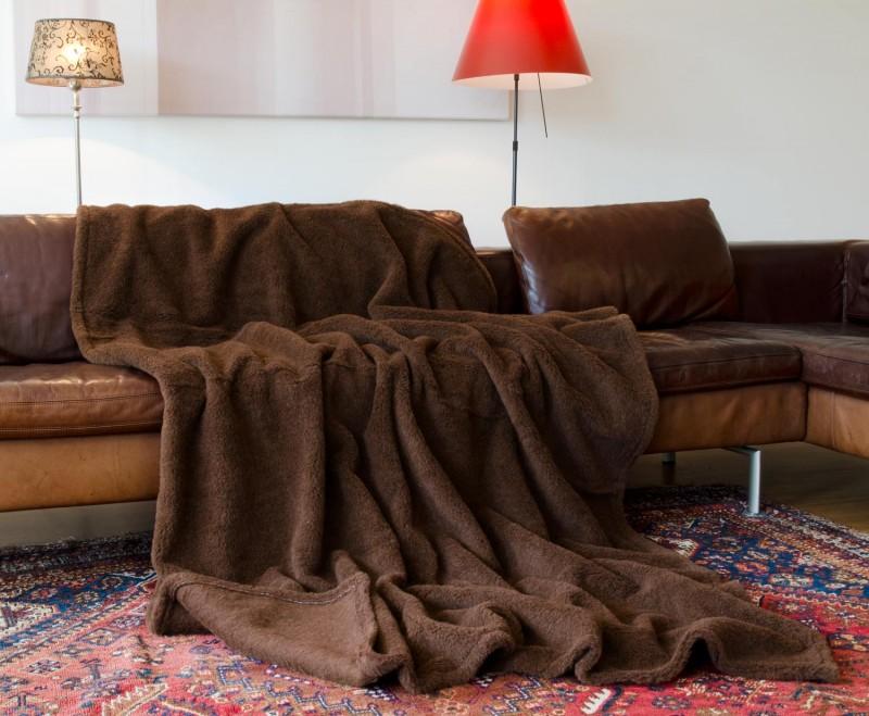 Alpaka Wolldecke 150x200cm dunkelbraun aus Eiderstedt Alpaka