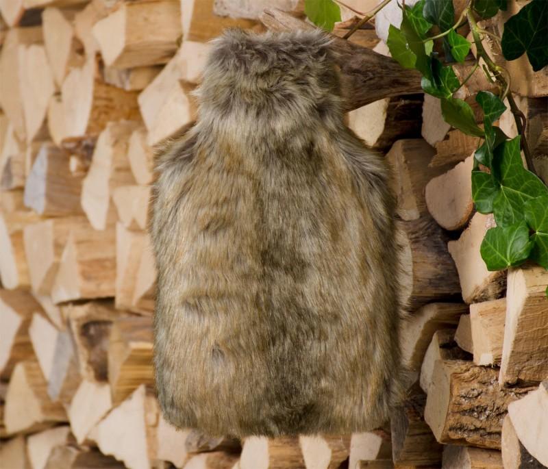 Wärmflaschenhülle aus Fell (Fellimitat) Otter mit Naturgummi Wärmflasche