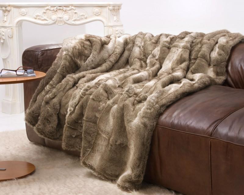 Felldecke (Fellimitat) Bär braun-creme mit grauem Unterfell - 5 Größen - 150x200 bis 260x300cm
